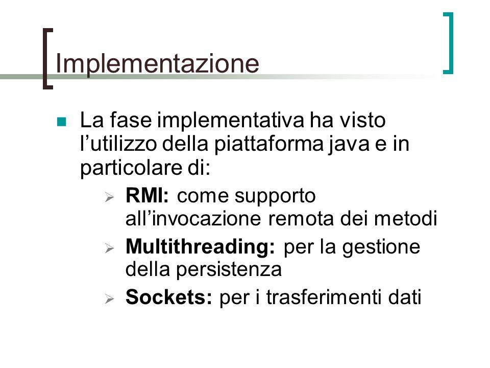 Implementazione La fase implementativa ha visto l'utilizzo della piattaforma java e in particolare di:  RMI: come supporto all'invocazione remota dei metodi  Multithreading: per la gestione della persistenza  Sockets: per i trasferimenti dati