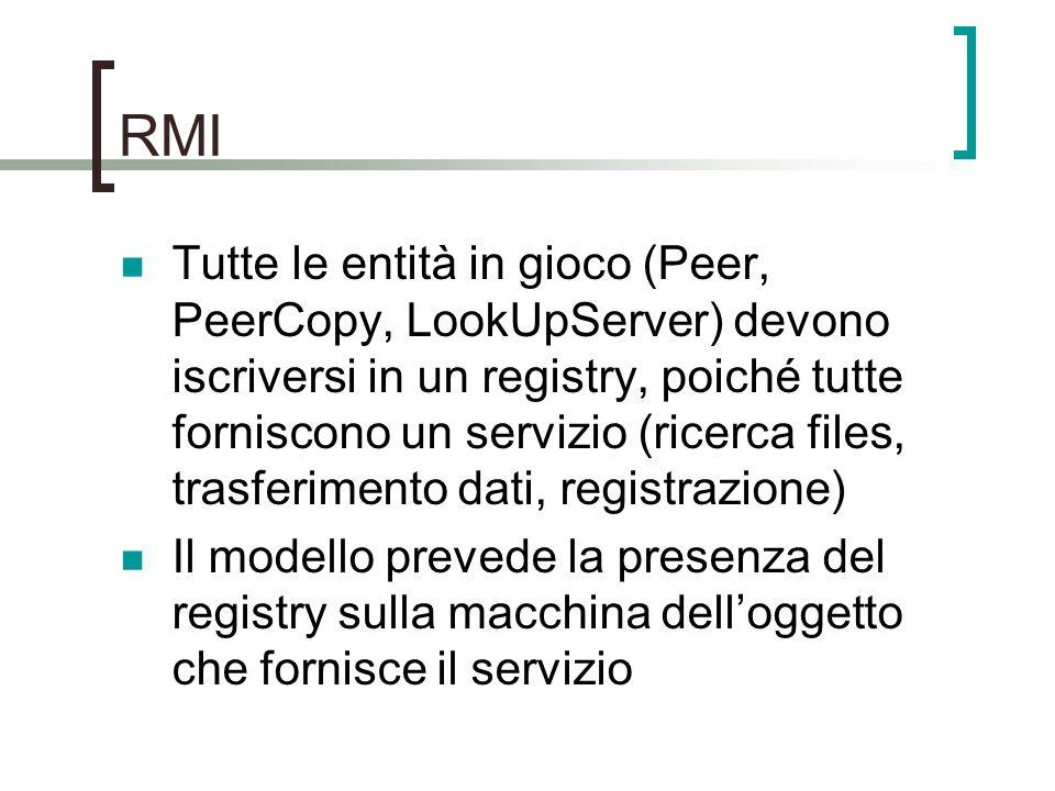 RMI Tutte le entità in gioco (Peer, PeerCopy, LookUpServer) devono iscriversi in un registry, poiché tutte forniscono un servizio (ricerca files, trasferimento dati, registrazione) Il modello prevede la presenza del registry sulla macchina dell'oggetto che fornisce il servizio