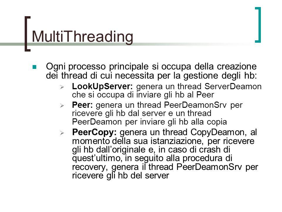 MultiThreading Ogni processo principale si occupa della creazione dei thread di cui necessita per la gestione degli hb:  LookUpServer: genera un thread ServerDeamon che si occupa di inviare gli hb al Peer  Peer: genera un thread PeerDeamonSrv per ricevere gli hb dal server e un thread PeerDeamon per inviare gli hb alla copia  PeerCopy: genera un thread CopyDeamon, al momento della sua istanziazione, per ricevere gli hb dall'originale e, in caso di crash di quest'ultimo, in seguito alla procedura di recovery, genera il thread PeerDeamonSrv per ricevere gli hb del server