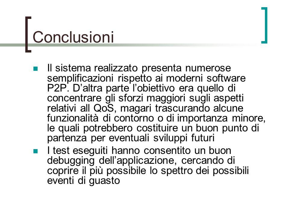 Conclusioni Il sistema realizzato presenta numerose semplificazioni rispetto ai moderni software P2P.