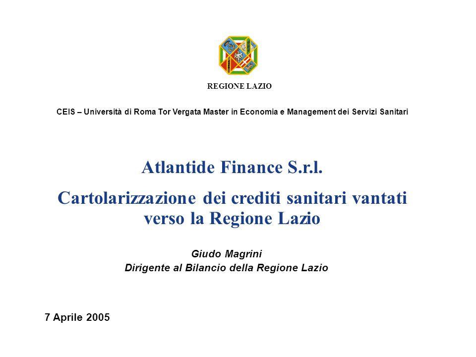 REGIONE LAZIO Atlantide Finance S.r.l. Cartolarizzazione dei crediti sanitari vantati verso la Regione Lazio 7 Aprile 2005 Giudo Magrini Dirigente al
