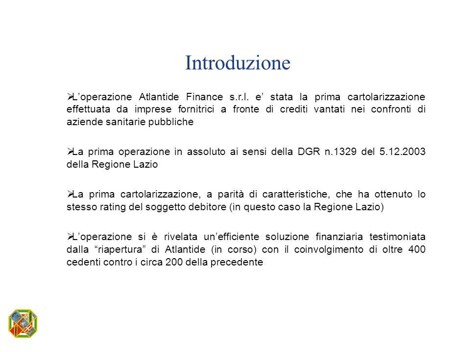 Introduzione  L'operazione Atlantide Finance s.r.l. e' stata la prima cartolarizzazione effettuata da imprese fornitrici a fronte di crediti vantati