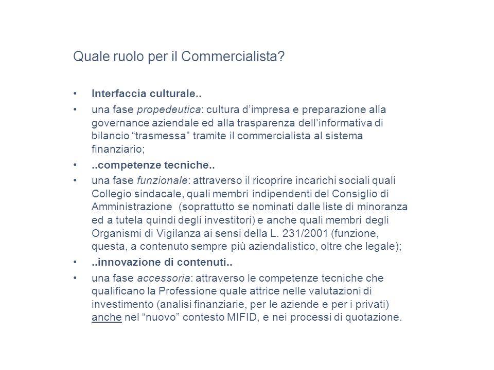 Quale ruolo per il Commercialista. Interfaccia culturale..