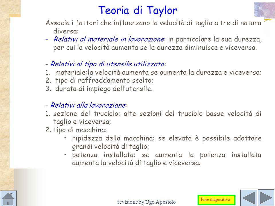 revisione by Ugo Apostolo Teoria di Taylor Associa i fattori che influenzano la velocità di taglio a tre di natura diversa: -Relativi al materiale in