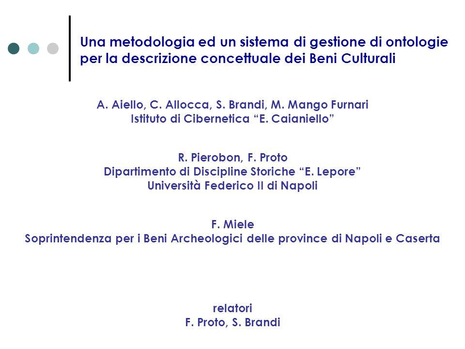 Una metodologia ed un sistema di gestione di ontologie per la descrizione concettuale dei Beni Culturali A. Aiello, C. Allocca, S. Brandi, M. Mango Fu