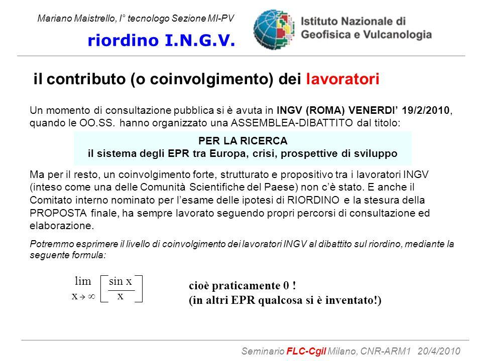 il contributo (o coinvolgimento) dei lavoratori Mariano Maistrello, I° tecnologo Sezione MI-PV riordino I.N.G.V.