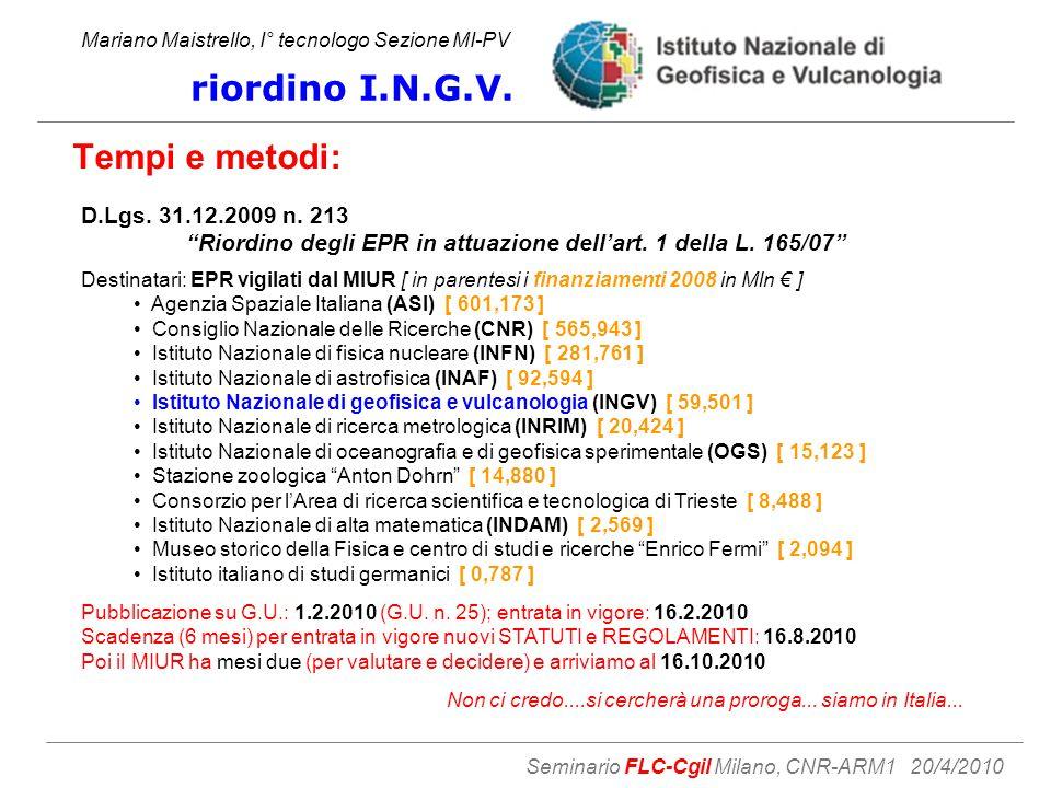 Tempi e metodi: Mariano Maistrello, I° tecnologo Sezione MI-PV riordino I.N.G.V.
