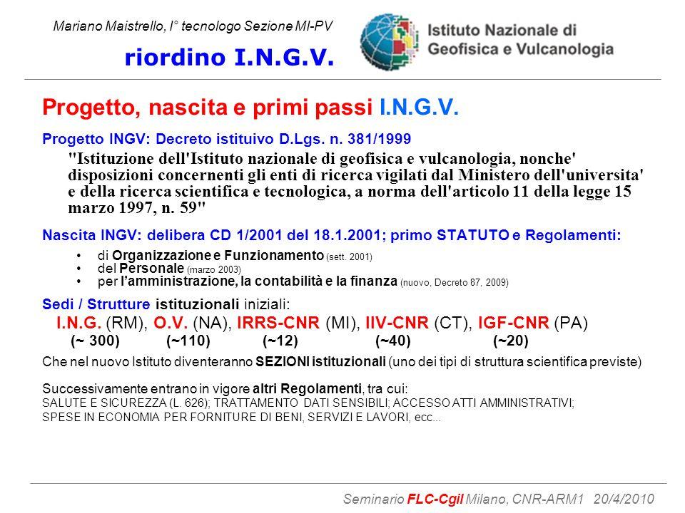 Progetto, nascita e primi passi I.N.G.V. Progetto INGV: Decreto istituivo D.Lgs.
