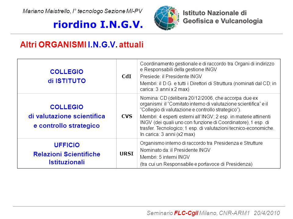 Mariano Maistrello, I° tecnologo Sezione MI-PV riordino I.N.G.V.