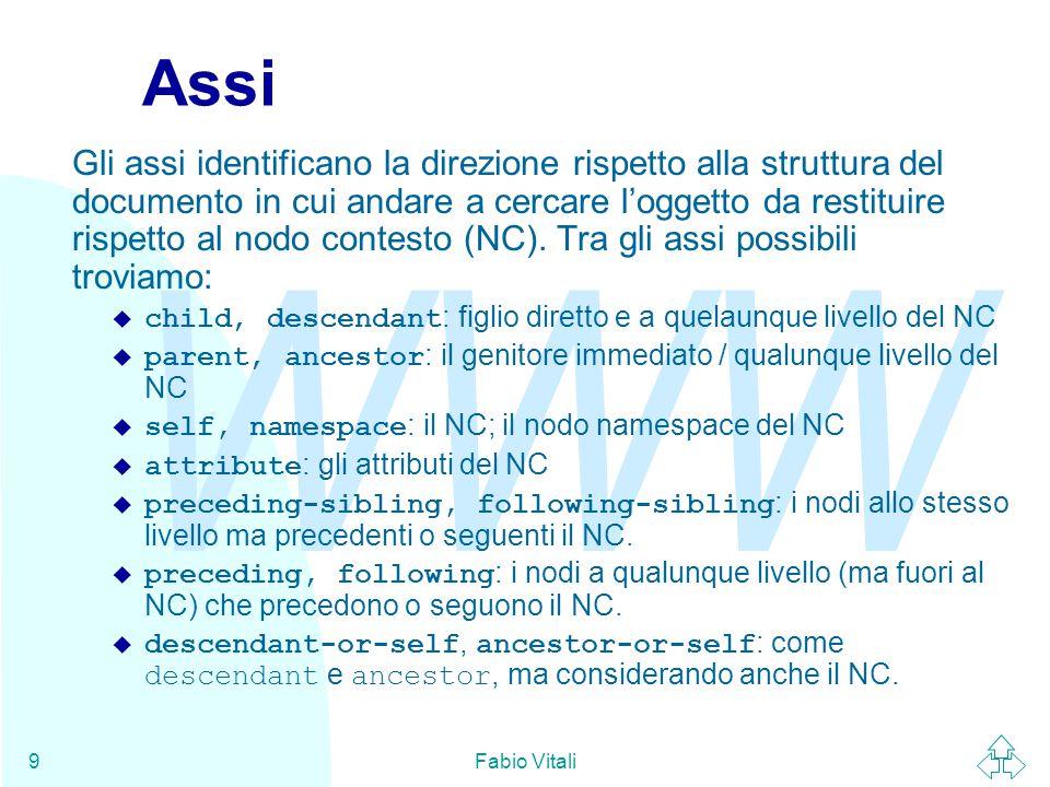 WWW Fabio Vitali9 Assi Gli assi identificano la direzione rispetto alla struttura del documento in cui andare a cercare l'oggetto da restituire rispet