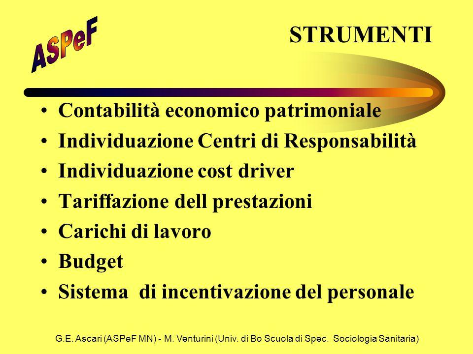 G.E. Ascari (ASPeF MN) - M. Venturini (Univ. di Bo Scuola di Spec. Sociologia Sanitaria) STRUMENTI Contabilità economico patrimoniale Individuazione C