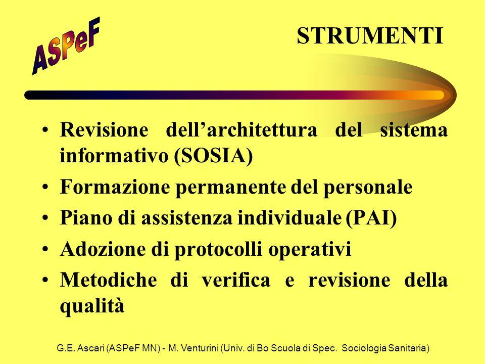G.E. Ascari (ASPeF MN) - M. Venturini (Univ. di Bo Scuola di Spec. Sociologia Sanitaria) STRUMENTI Revisione dell'architettura del sistema informativo