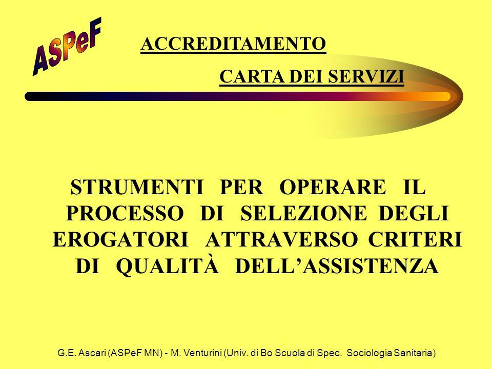 G.E. Ascari (ASPeF MN) - M. Venturini (Univ. di Bo Scuola di Spec. Sociologia Sanitaria) STRUMENTI PER OPERARE IL PROCESSO DI SELEZIONE DEGLI EROGATOR