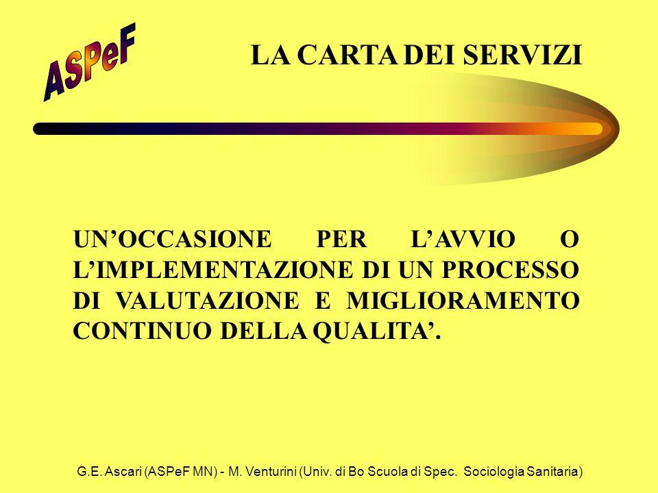 G.E. Ascari (ASPeF MN) - M. Venturini (Univ. di Bo Scuola di Spec. Sociologia Sanitaria) LA CARTA DEI SERVIZI UN'OCCASIONE PER L'AVVIO O L'IMPLEMENTAZ