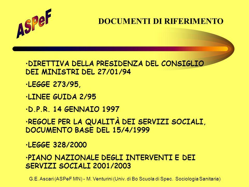 G.E. Ascari (ASPeF MN) - M. Venturini (Univ. di Bo Scuola di Spec. Sociologia Sanitaria) DOCUMENTI DI RIFERIMENTO DIRETTIVA DELLA PRESIDENZA DEL CONSI