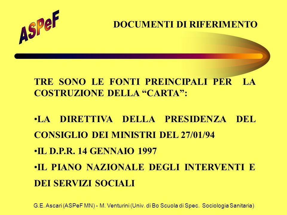 G.E. Ascari (ASPeF MN) - M. Venturini (Univ. di Bo Scuola di Spec. Sociologia Sanitaria) DOCUMENTI DI RIFERIMENTO TRE SONO LE FONTI PREINCIPALI PER LA