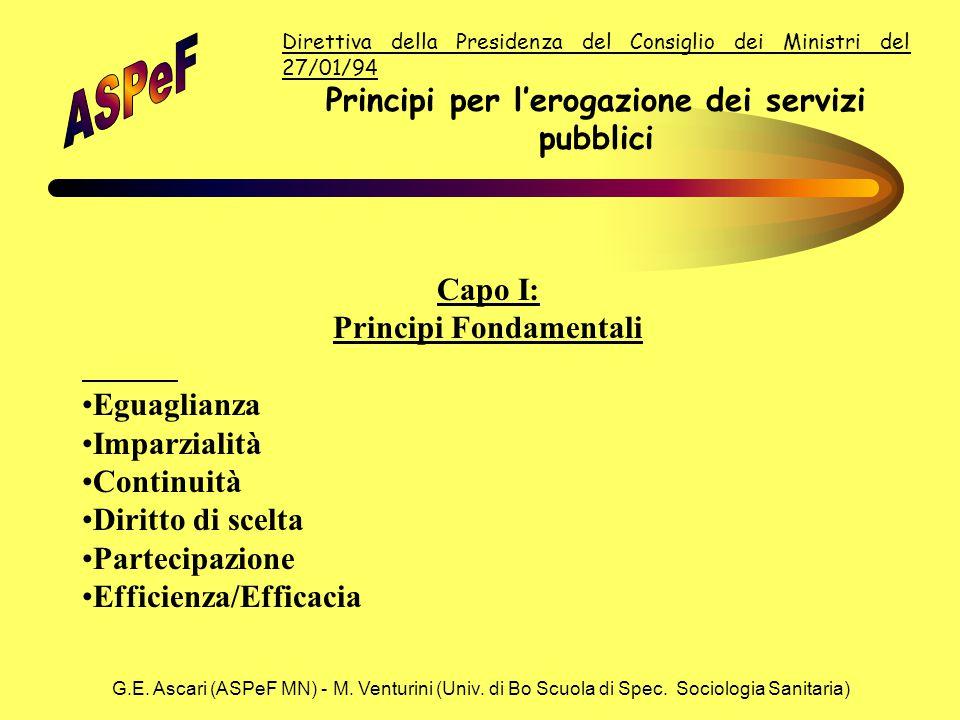 G.E. Ascari (ASPeF MN) - M. Venturini (Univ. di Bo Scuola di Spec. Sociologia Sanitaria) Direttiva della Presidenza del Consiglio dei Ministri del 27/