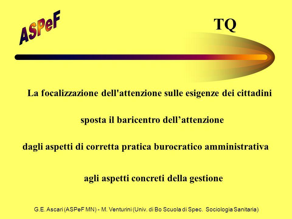 G.E. Ascari (ASPeF MN) - M. Venturini (Univ. di Bo Scuola di Spec. Sociologia Sanitaria) La focalizzazione dell'attenzione sulle esigenze dei cittadin