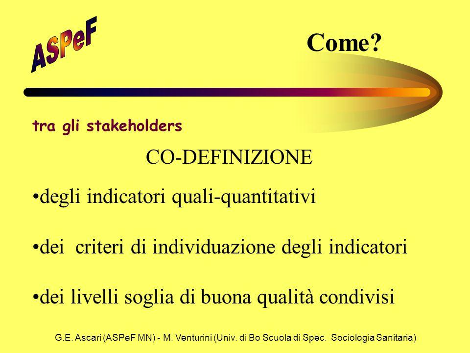 G.E. Ascari (ASPeF MN) - M. Venturini (Univ. di Bo Scuola di Spec. Sociologia Sanitaria) Come? tra gli stakeholders degli indicatori quali-quantitativ