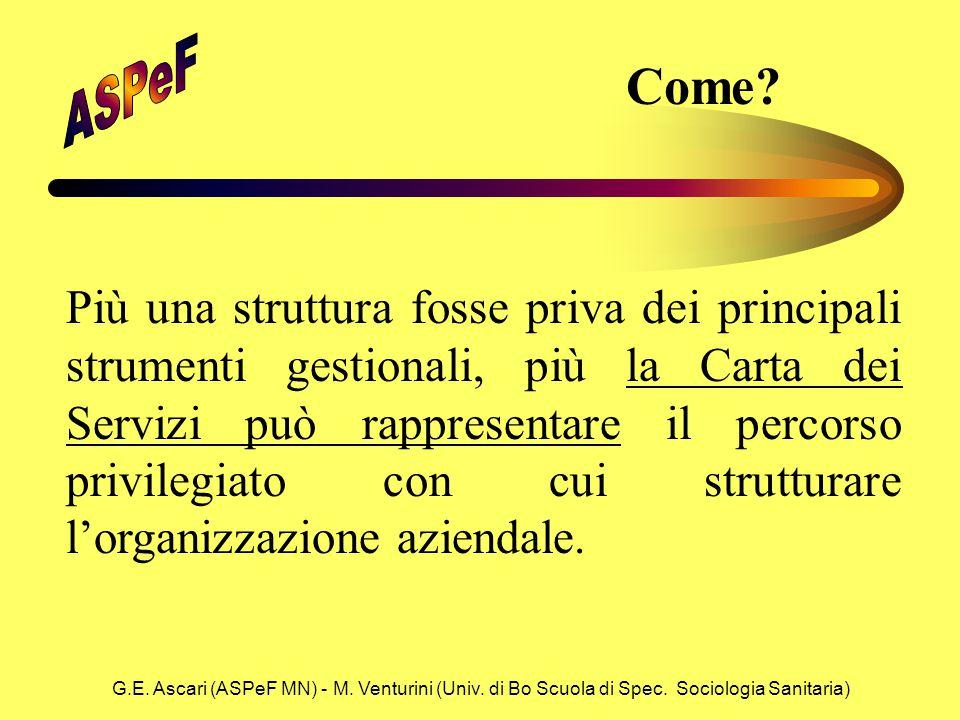 G.E. Ascari (ASPeF MN) - M. Venturini (Univ. di Bo Scuola di Spec. Sociologia Sanitaria) Come? Più una struttura fosse priva dei principali strumenti