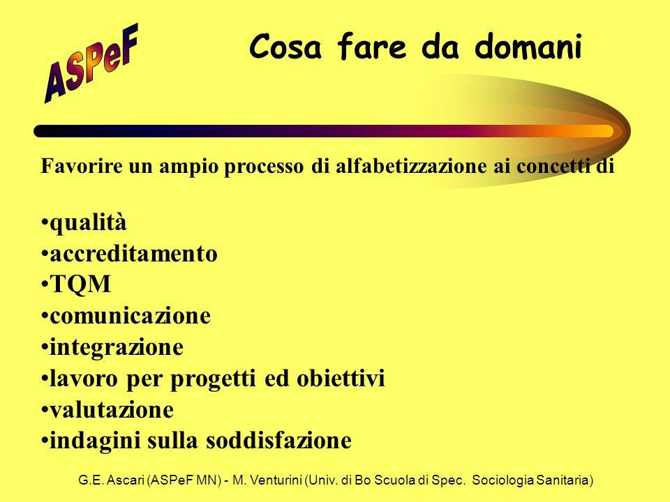 G.E. Ascari (ASPeF MN) - M. Venturini (Univ. di Bo Scuola di Spec. Sociologia Sanitaria) Cosa fare da domani Favorire un ampio processo di alfabetizza