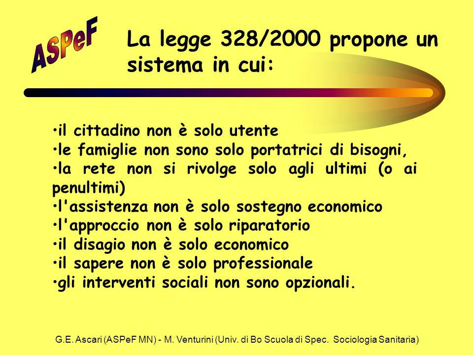 G.E. Ascari (ASPeF MN) - M. Venturini (Univ. di Bo Scuola di Spec. Sociologia Sanitaria) il cittadino non è solo utente le famiglie non sono solo port