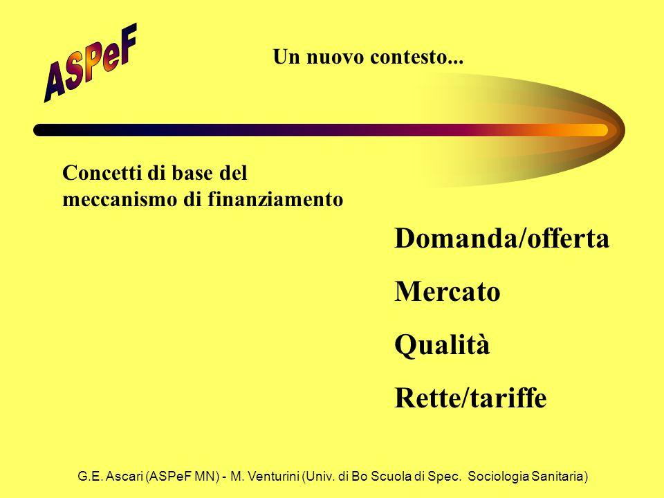 G.E. Ascari (ASPeF MN) - M. Venturini (Univ. di Bo Scuola di Spec. Sociologia Sanitaria) Concetti di base del meccanismo di finanziamento Domanda/offe