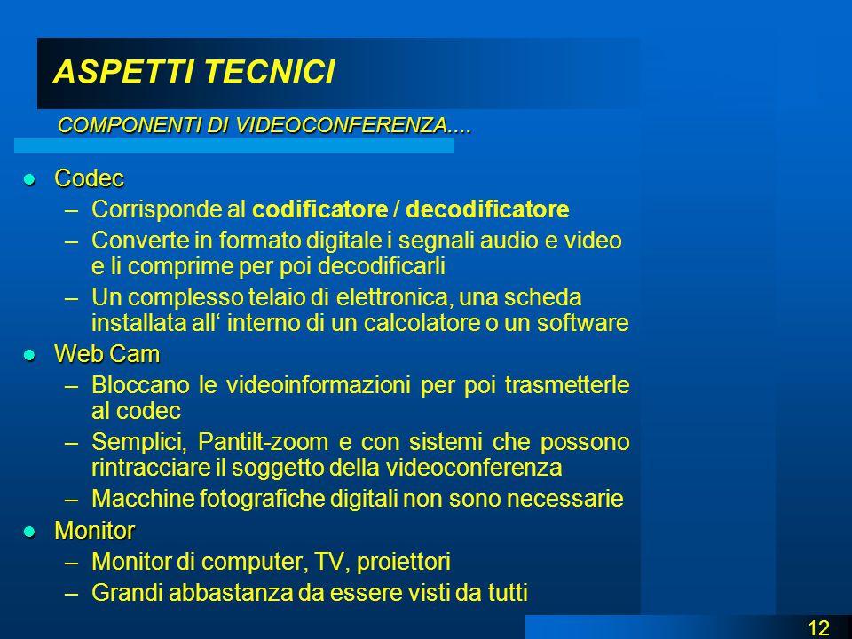 ASPETTI TECNICI Codec Codec –Corrisponde al codificatore / decodificatore –Converte in formato digitale i segnali audio e video e li comprime per poi decodificarli –Un complesso telaio di elettronica, una scheda installata all' interno di un calcolatore o un software Web Cam Web Cam –Bloccano le videoinformazioni per poi trasmetterle al codec –Semplici, Pantilt-zoom e con sistemi che possono rintracciare il soggetto della videoconferenza –Macchine fotografiche digitali non sono necessarie Monitor Monitor –Monitor di computer, TV, proiettori –Grandi abbastanza da essere visti da tutti 12 COMPONENTI DI VIDEOCONFERENZA....