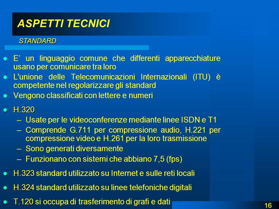 ASPETTI TECNICI E' un linguaggio comune che differenti apparecchiature usano per comunicare tra loro L unione delle Telecomunicazioni Internazionali (ITU) è competente nel regolarizzare gli standard Vengono classificati con lettere e numeri H.320 H.320 –Usate per le videoconferenze mediante linee ISDN e T1 –Comprende G.711 per compressione audio, H.221 per compressione video e H.261 per la loro trasmissione –Sono generati diversamente –Funzionano con sistemi che abbiano 7,5 (fps) H.323 H.323 standard utilizzato su Internet e sulle reti locali H.324 H.324 standard utilizzato su linee telefoniche digitali T.120 T.120 si occupa di trasferimento di grafi e dati 16 STANDARD