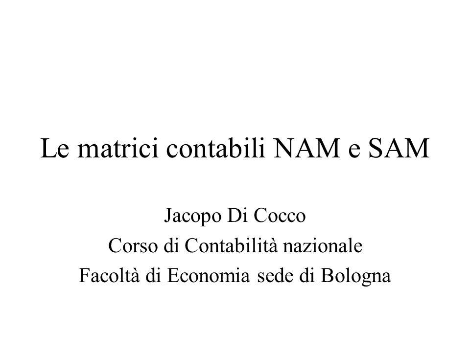 Le matrici contabili NAM e SAM Jacopo Di Cocco Corso di Contabilità nazionale Facoltà di Economia sede di Bologna