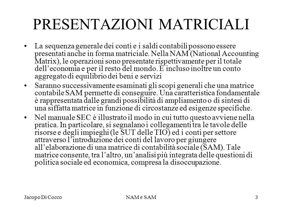 Jacopo Di CoccoNAM e SAM3 PRESENTAZIONI MATRICIALI La sequenza generale dei conti e i saldi contabili possono essere presentati anche in forma matriciale.