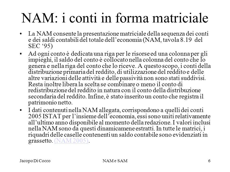 Jacopo Di CoccoNAM e SAM6 NAM: i conti in forma matriciale La NAM consente la presentazione matriciale della sequenza dei conti e dei saldi contabili del totale dell'economia (NAM, tavola 8.19 del SEC '95) Ad ogni conto è dedicata una riga per le risorse ed una colonna per gli impieghi, il saldo del conto è collocato nella colonna del conto che lo genera e nella riga del conto che lo riceve.