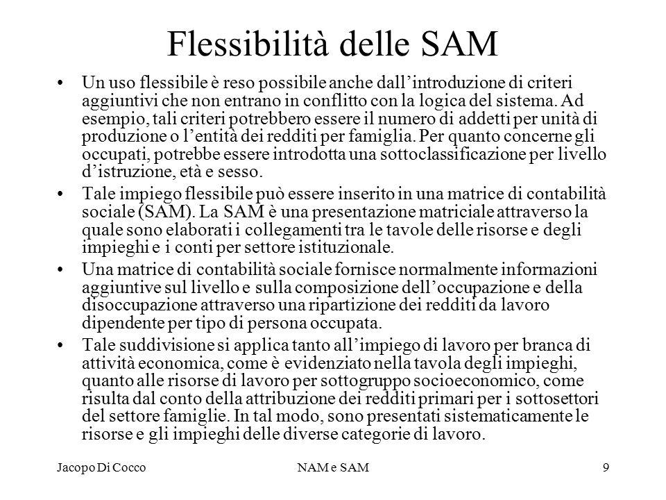 Jacopo Di CoccoNAM e SAM9 Flessibilità delle SAM Un uso flessibile è reso possibile anche dall'introduzione di criteri aggiuntivi che non entrano in conflitto con la logica del sistema.