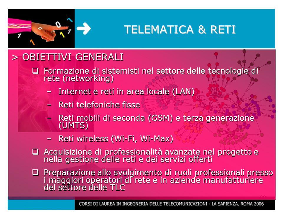 29 TELEMATICA & RETI > OBIETTIVI GENERALI  Formazione di sistemisti nel settore delle tecnologie di rete (networking) –Internet e reti in area locale (LAN) –Reti telefoniche fisse –Reti mobili di seconda (GSM) e terza generazione (UMTS) –Reti wireless (Wi-Fi, Wi-Max)  Acquisizione di professionalità avanzate nel progetto e nella gestione delle reti e dei servizi offerti  Preparazione allo svolgimento di ruoli professionali presso i maggiori operatori di rete e in aziende manufatturiere del settore delle TLC