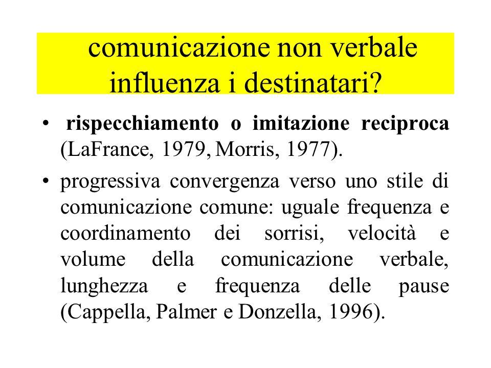 comunicazione non verbale influenza i destinatari? rispecchiamento o imitazione reciproca (LaFrance, 1979, Morris, 1977). progressiva convergenza vers