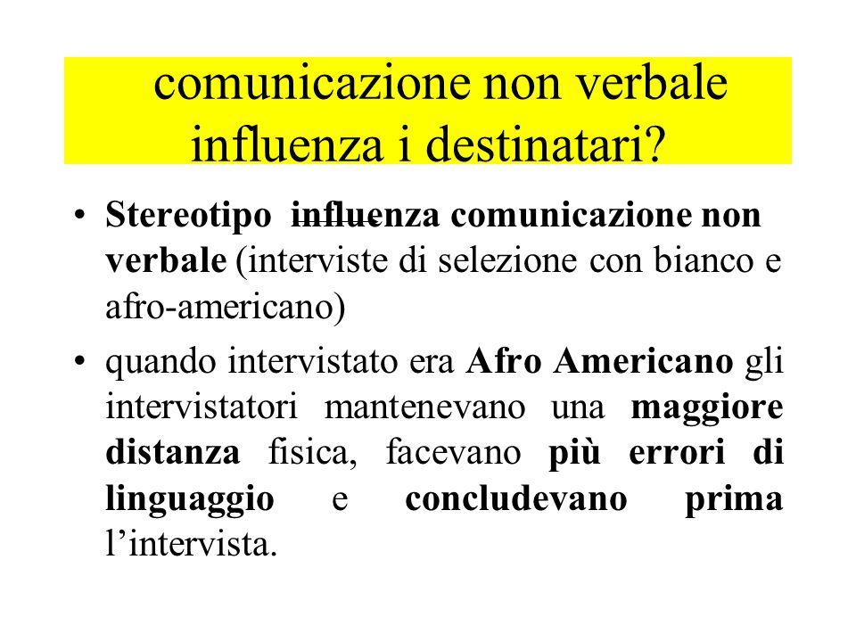Stereotipo influenza comunicazione non verbale (interviste di selezione con bianco e afro-americano) quando intervistato era Afro Americano gli interv