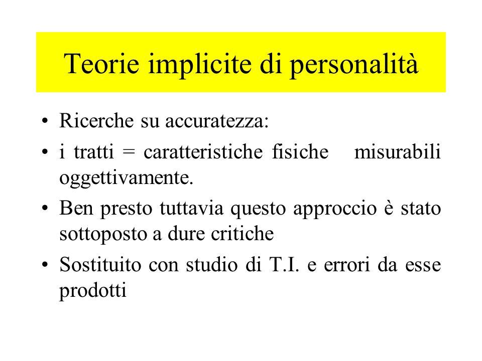 Teorie implicite di personalità Ricerche su accuratezza: i tratti = caratteristiche fisiche misurabili oggettivamente. Ben presto tuttavia questo appr