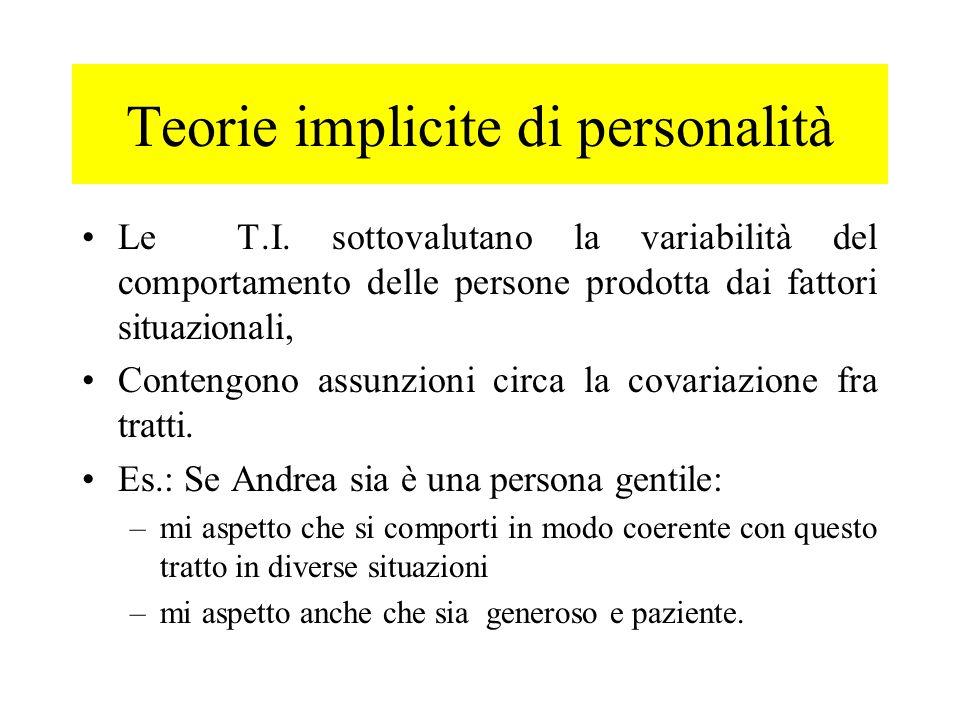 Le T.I. sottovalutano la variabilità del comportamento delle persone prodotta dai fattori situazionali, Contengono assunzioni circa la covariazione fr