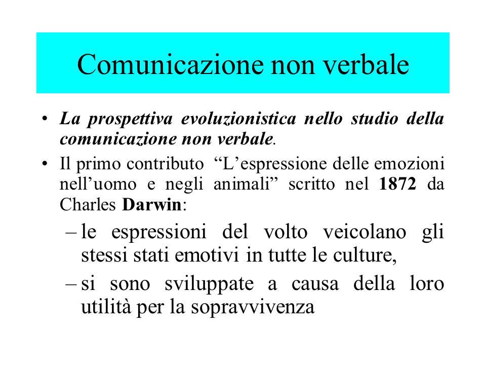 psicologi sociali evoluzionisti cercano di individuare gli aspetti universali (innati) della comunicazione non verbale.