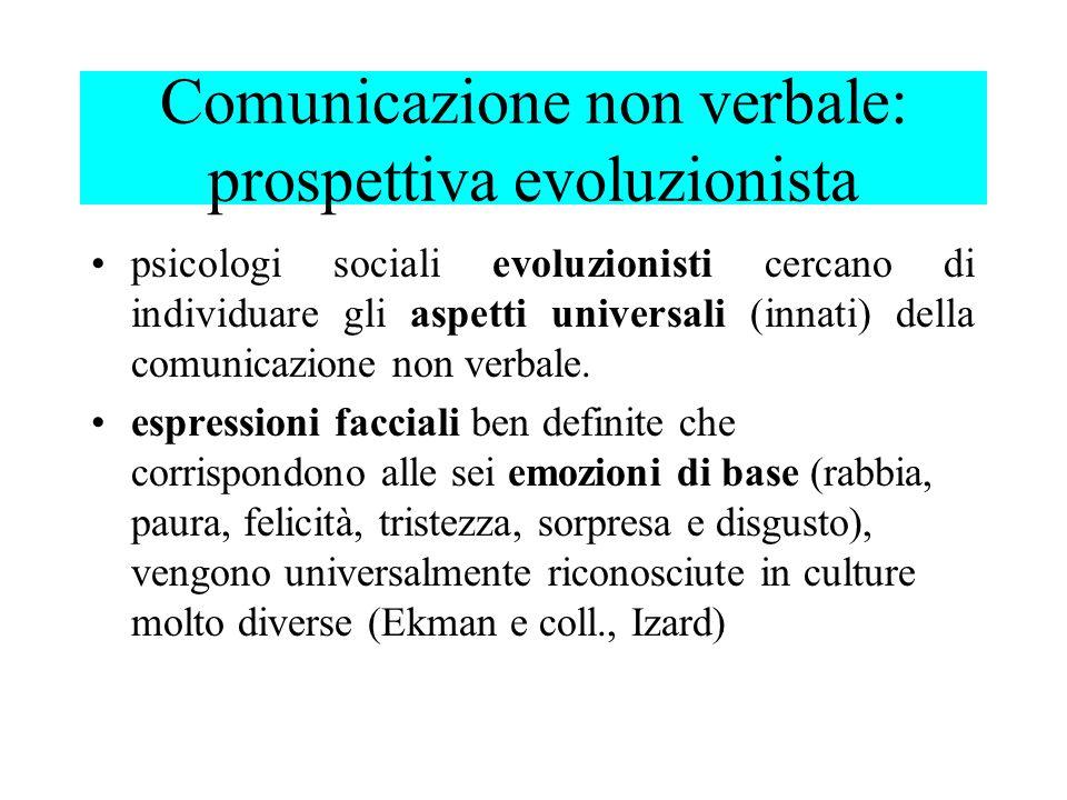 psicologi sociali evoluzionisti cercano di individuare gli aspetti universali (innati) della comunicazione non verbale. espressioni facciali ben defin