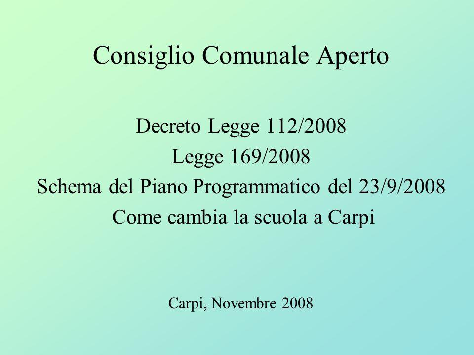 Consiglio Comunale Aperto Decreto Legge 112/2008 Legge 169/2008 Schema del Piano Programmatico del 23/9/2008 Come cambia la scuola a Carpi Carpi, Nove