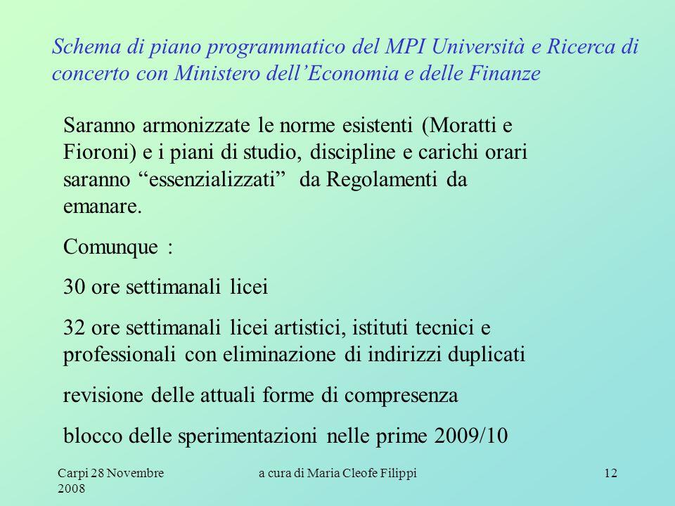 Carpi 28 Novembre 2008 a cura di Maria Cleofe Filippi12 Schema di piano programmatico del MPI Università e Ricerca di concerto con Ministero dell'Econ