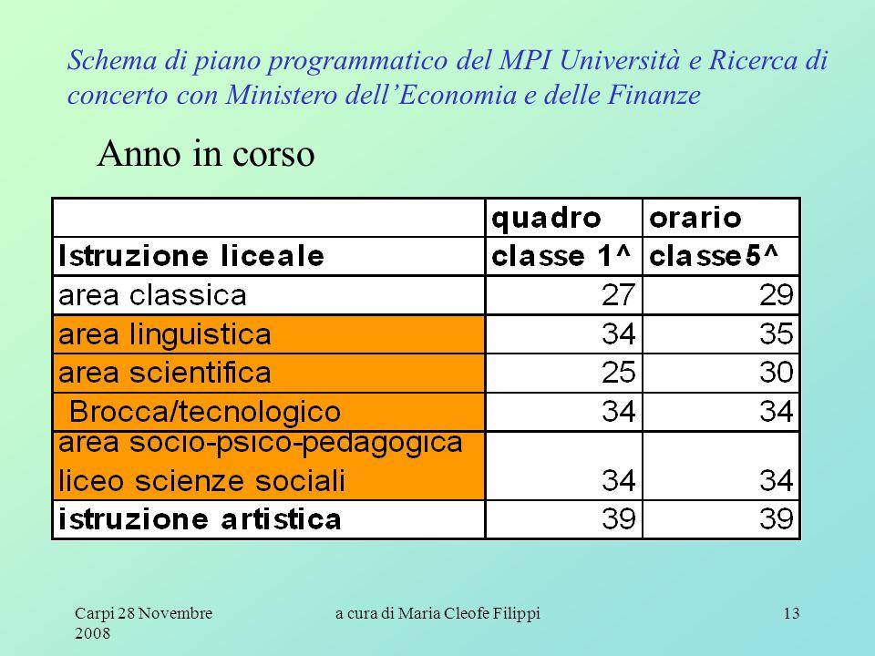 Carpi 28 Novembre 2008 a cura di Maria Cleofe Filippi13 Schema di piano programmatico del MPI Università e Ricerca di concerto con Ministero dell'Economia e delle Finanze Anno in corso