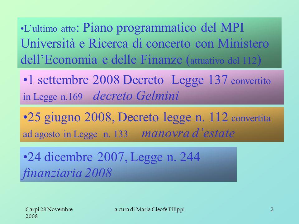 Carpi 28 Novembre 2008 a cura di Maria Cleofe Filippi2 L'ultimo atto : Piano programmatico del MPI Università e Ricerca di concerto con Ministero dell