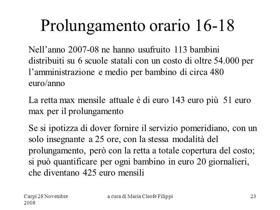 Carpi 28 Novembre 2008 a cura di Maria Cleofe Filippi23 Prolungamento orario 16-18 Nell'anno 2007-08 ne hanno usufruito 113 bambini distribuiti su 6 s