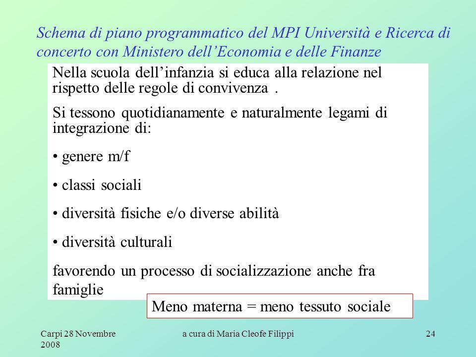 Carpi 28 Novembre 2008 a cura di Maria Cleofe Filippi24 Schema di piano programmatico del MPI Università e Ricerca di concerto con Ministero dell'Econ