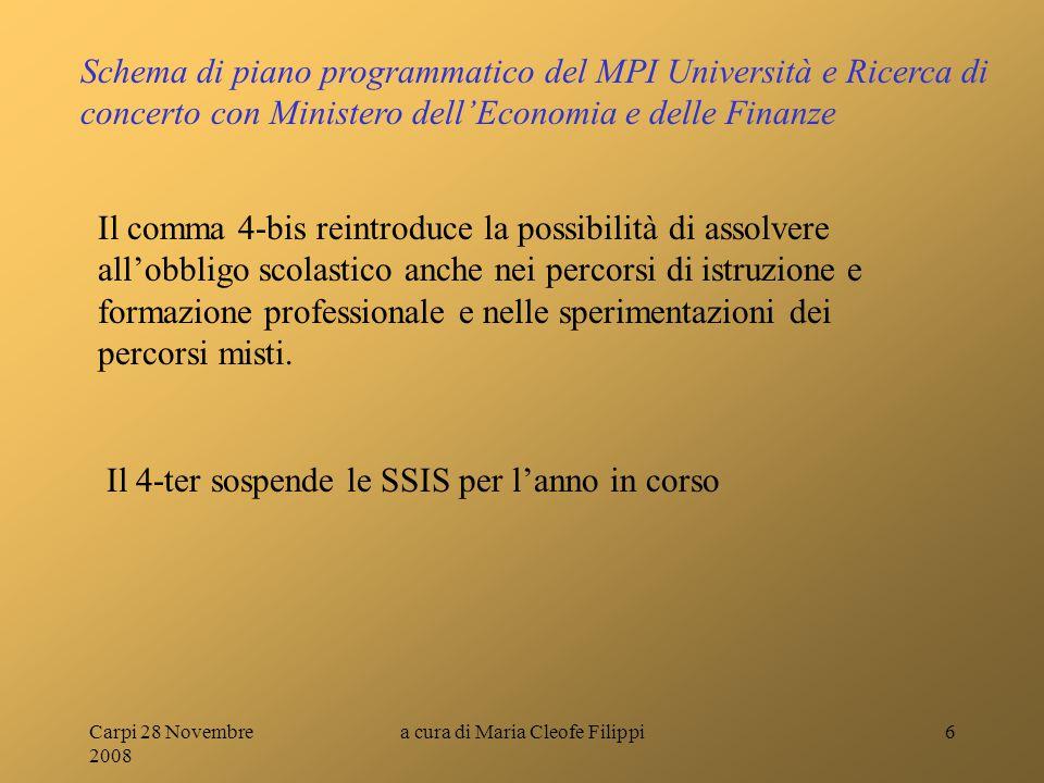 Carpi 28 Novembre 2008 a cura di Maria Cleofe Filippi6 Schema di piano programmatico del MPI Università e Ricerca di concerto con Ministero dell'Econo