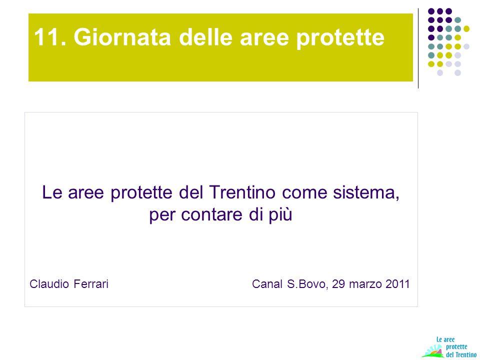 Le aree protette del Trentino Estensione 184.342 ha 29,7% Numero di aa.pp.: 293 158 RL 135 tra ZSC, ZPS, RN, fiumi Comuni coinvolti 200/217