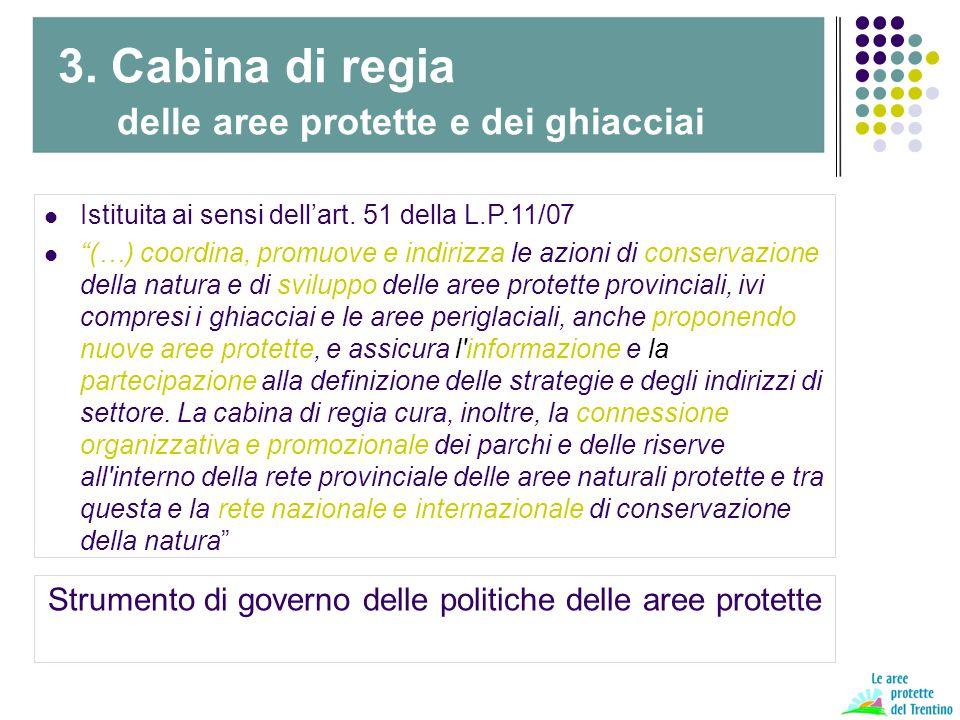"""Istituita ai sensi dell'art. 51 della L.P.11/07 """"(…) coordina, promuove e indirizza le azioni di conservazione della natura e di sviluppo delle aree p"""