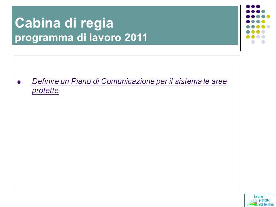 Definire un Piano di Comunicazione per il sistema le aree protette Cabina di regia programma di lavoro 2011